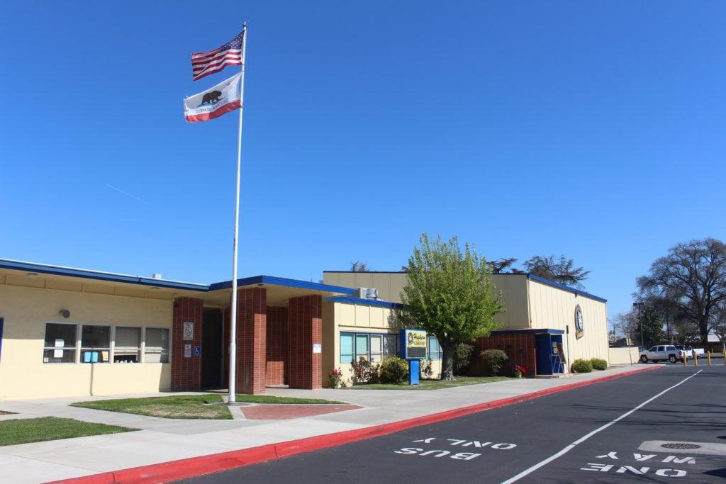 flag pole at front entrance
